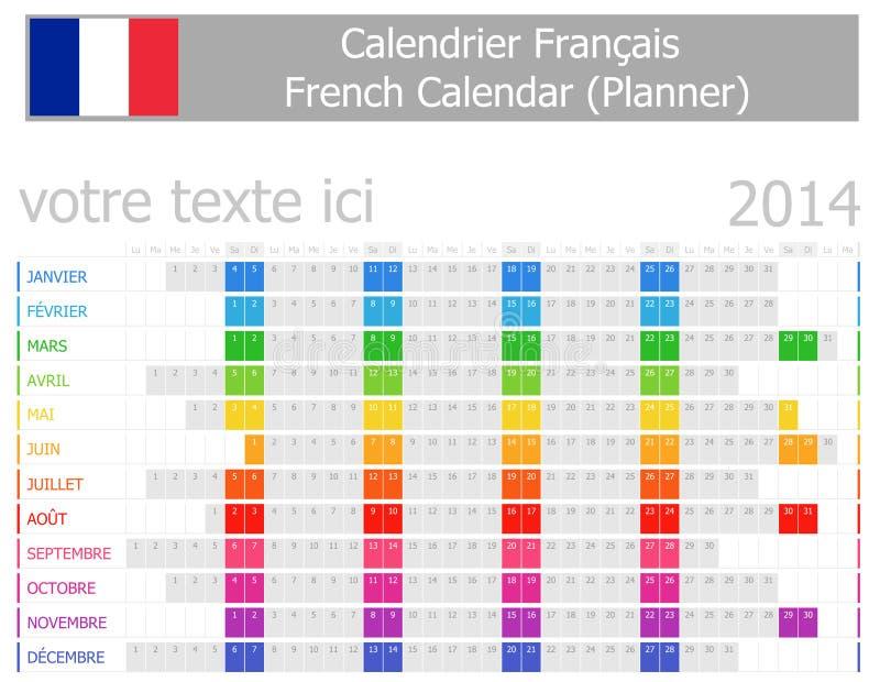 Calendrier de planificateur de 2014 Français avec des mois horizontaux illustration stock
