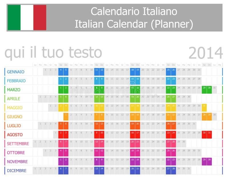 Calendrier de planificateur de 2014 Italiens avec des mois horizontaux illustration de vecteur