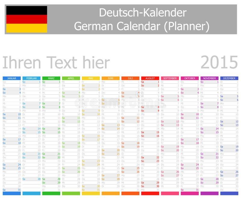 Calendrier de planificateur de 2015 Allemands avec des mois verticaux illustration stock