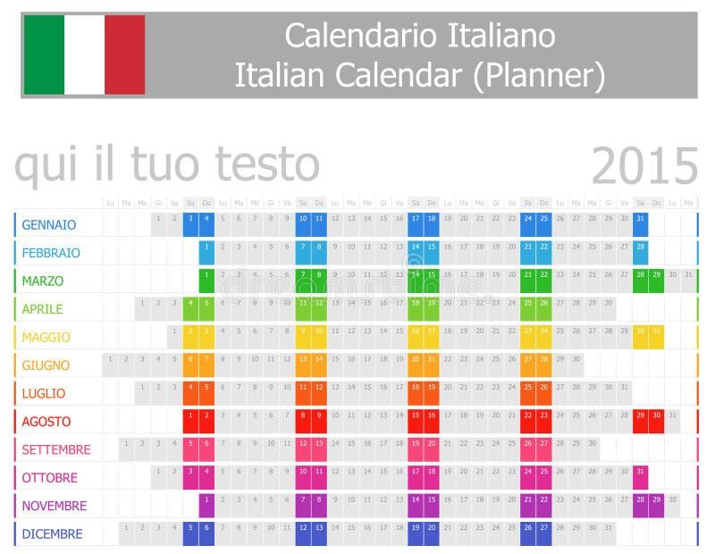 Calendrier de planificateur de 2015 Italiens avec des mois horizontaux illustration de vecteur