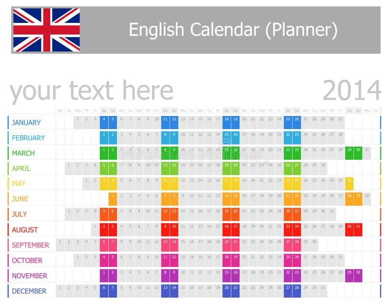 Calendrier de planificateur des 2014 anglais avec des mois horizontaux illustration de vecteur
