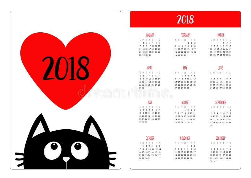 Calendrier de poche 2018 ans La semaine commence dimanche Chat noir illustration de vecteur