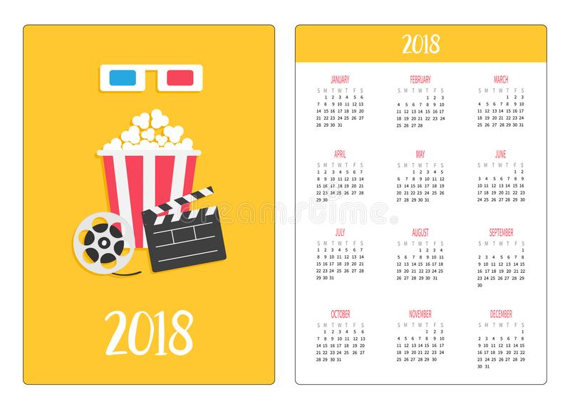 Calendrier de poche 2018 ans La semaine commence dimanche verres 3D bleus rouges de papier Ouvrez l'icône de film de cinéma de ma illustration stock