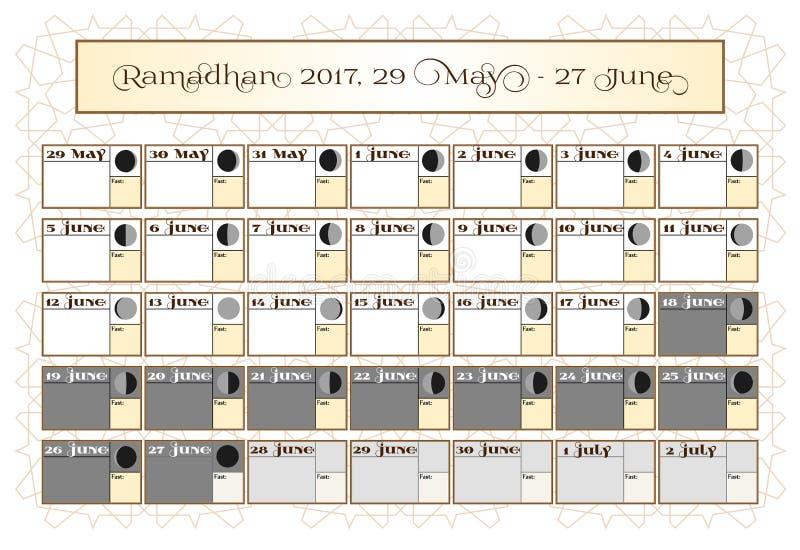 Calendrier 2017 de Ramadan, le 29 mai Vérifiez le choix de date Inclut : calendrier de jeûne de coutil, cycle de lune - phases, 3 illustration de vecteur
