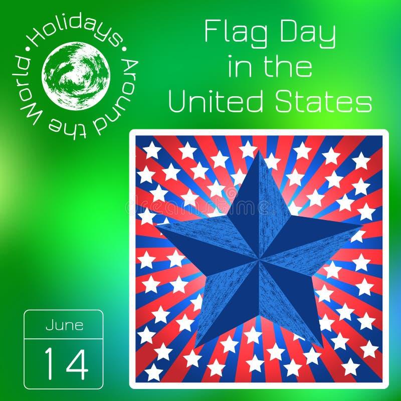 Calendrier de série Vacances autour du monde Événement de chaque jour de l'année Jour de collecte aux Etats-Unis 14 juin illustration de vecteur