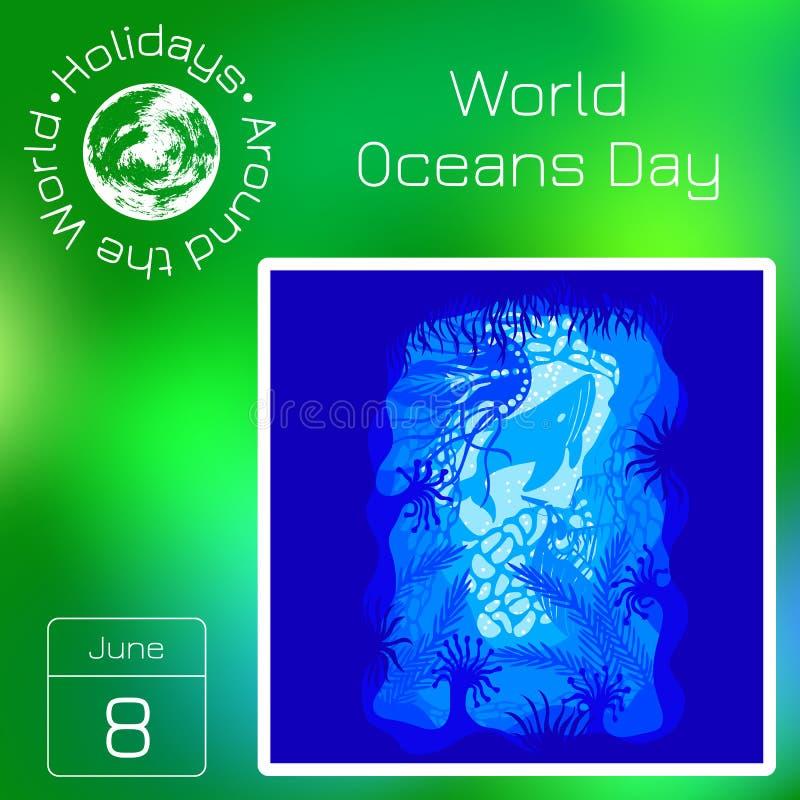 Calendrier de série Vacances autour du monde Événement de chaque jour de l'année Jour d'océans du monde 8 juin illustration de vecteur