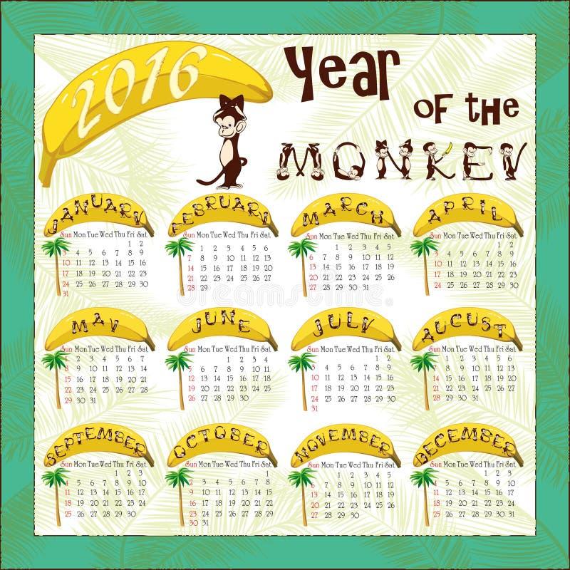 Calendrier de singe illustration libre de droits