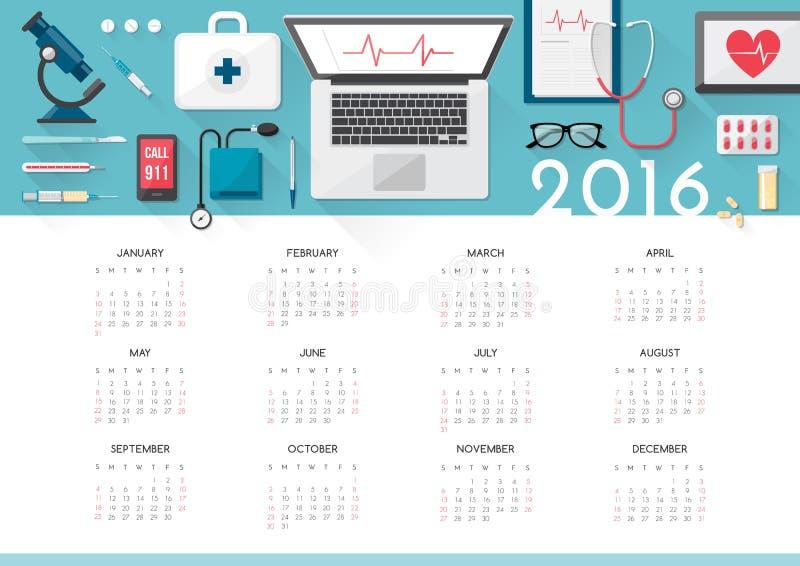 Calendrier 2016 de soins de santé illustration stock