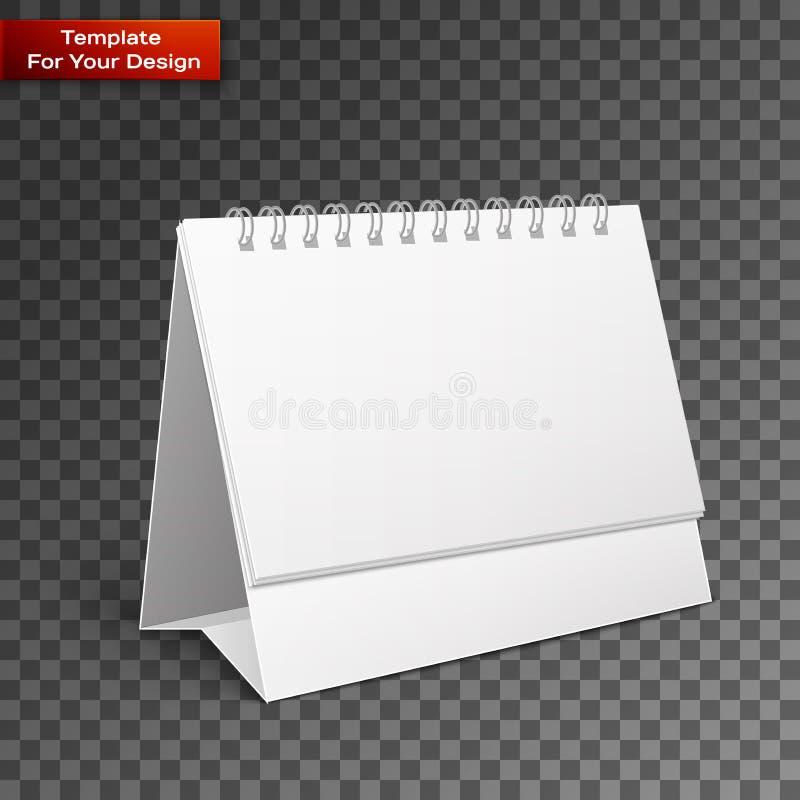 Calendrier de spirale de bureau de papier blanc illustration de vecteur