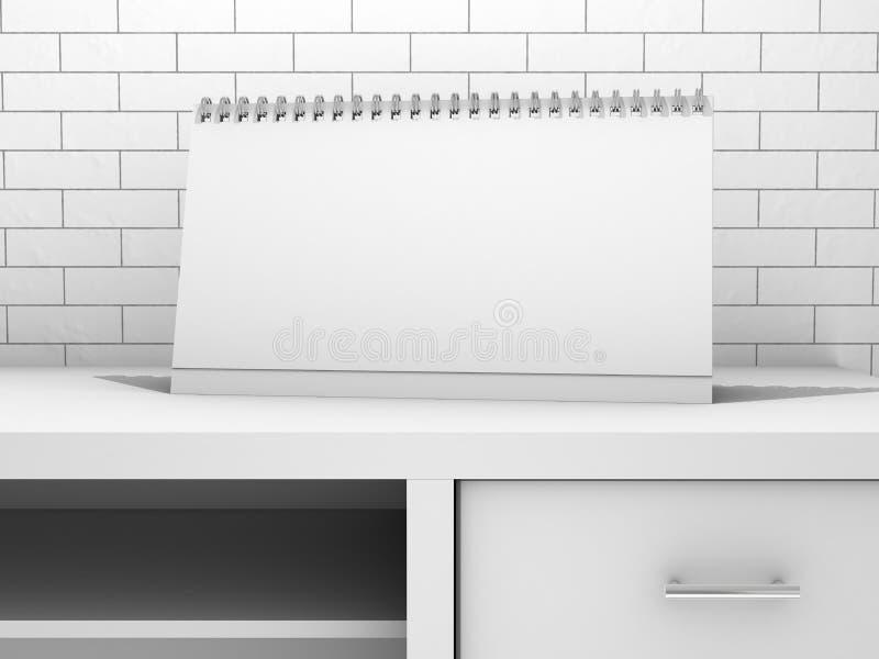 Calendrier de spirale de bureau de papier blanc 3d illustration stock
