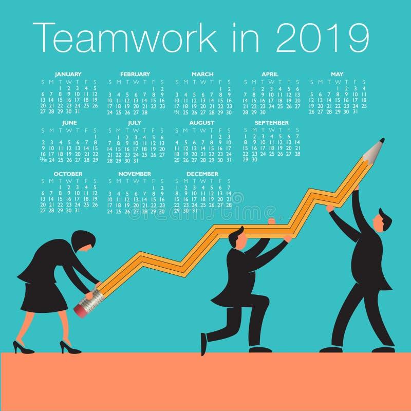 Calendrier 2019 de travail d'équipe illustration libre de droits