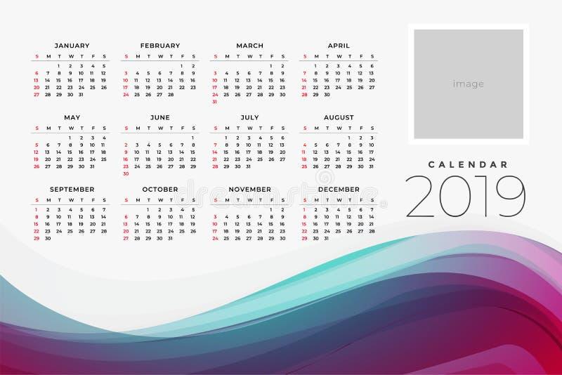 calendrier 2019 du calibre yar de conception illustration libre de droits