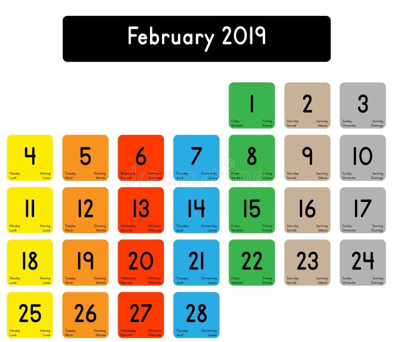Calendrier du mois de février 2019 illustration stock