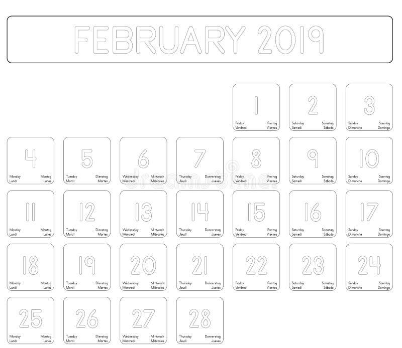 Calendrier du mois de février 2019 illustration libre de droits