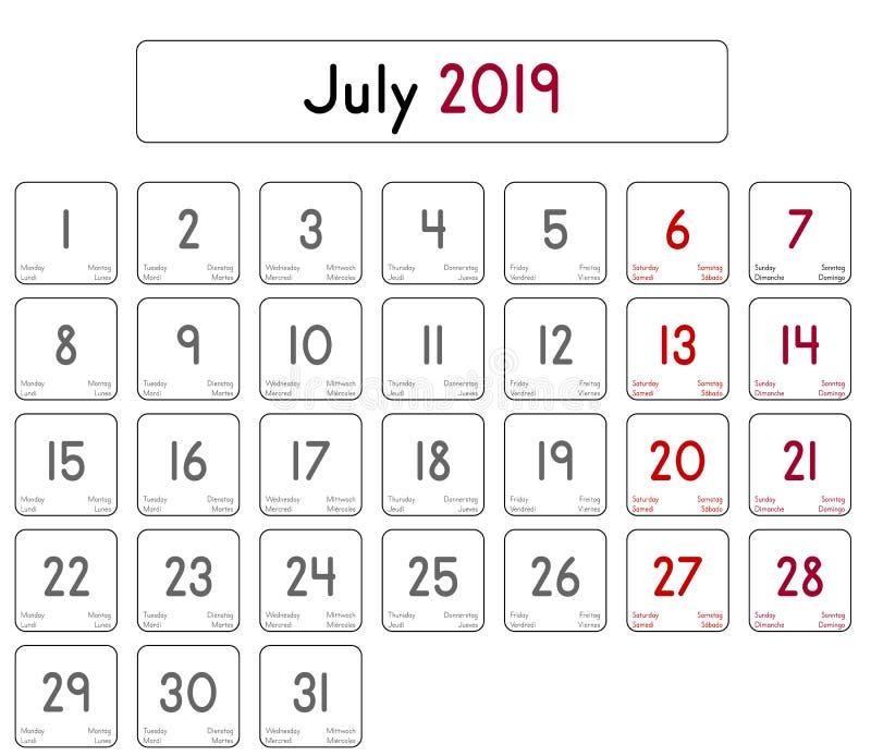 Calendrier Du Mois De Juillet 2019.Calendrier Du Mois D Avril 2019 Illustration De Vecteur
