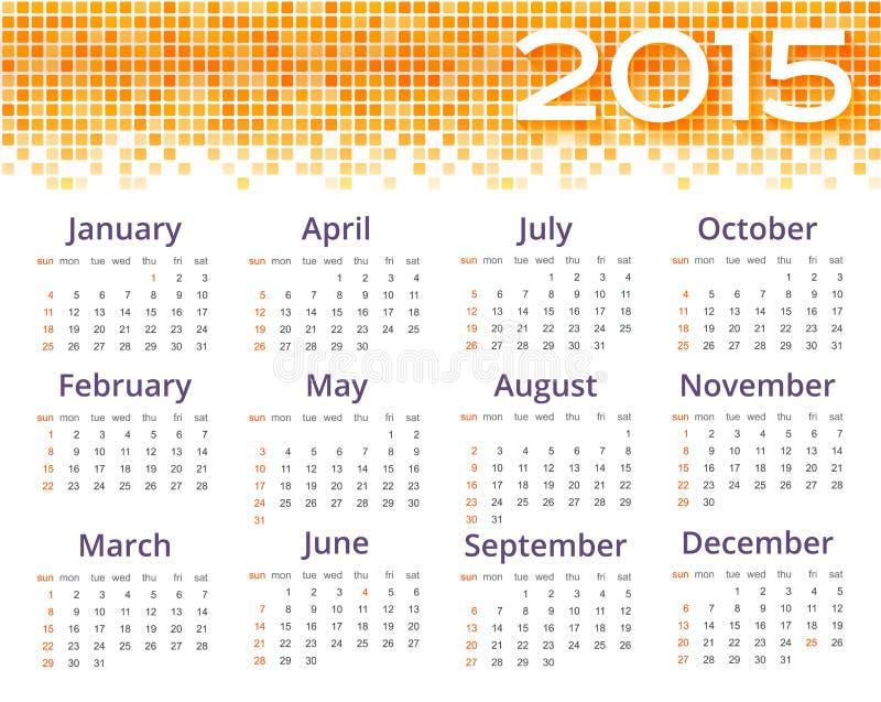 Calendrier du résumé 2015 avec la frontière jaune de pixel illustration de vecteur