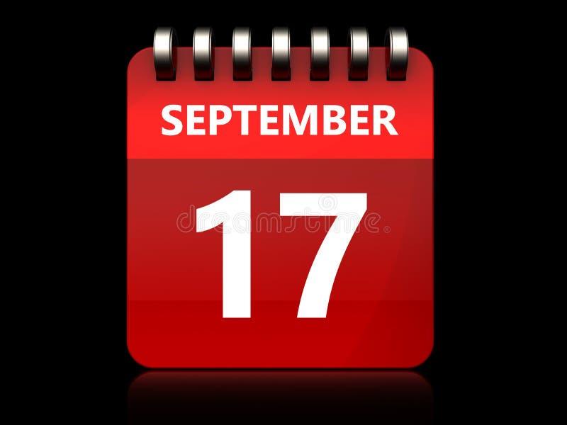 calendrier du 17 septembre 3d illustration stock