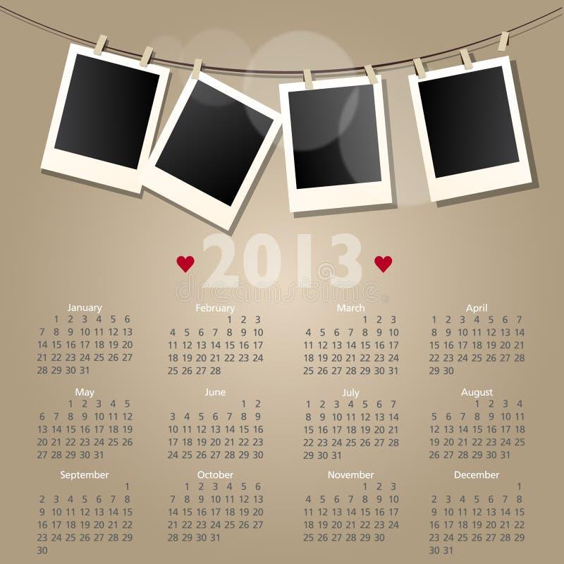 Calendrier du vecteur 2013 avec les trames polaroïd de photo illustration stock
