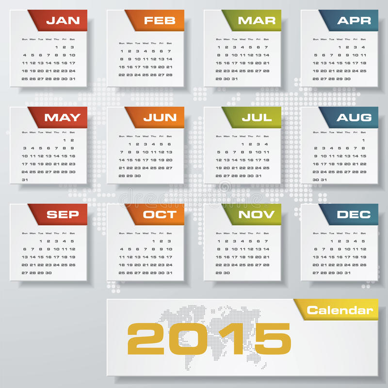 Calendrier editable simple 2015 de vecteur illustration de vecteur