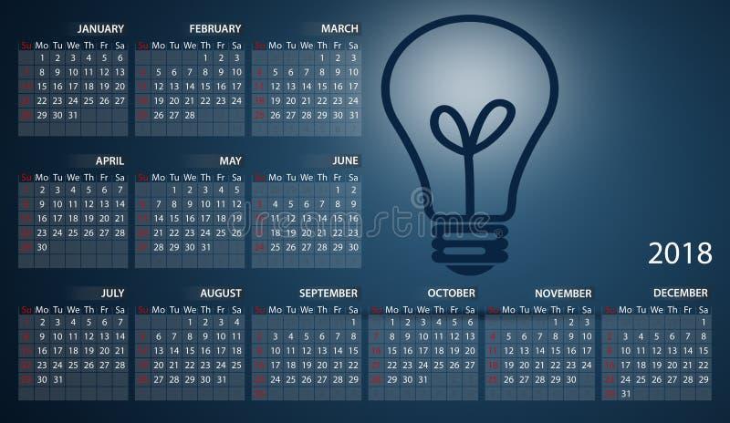Calendrier 2018 en anglais Débuts de semaine dimanche Ampoule sur le fond bleu-foncé illustration libre de droits