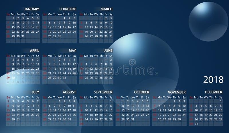 Calendrier 2018 en anglais Débuts de semaine dimanche Bulles sur le fond bleu illustration libre de droits