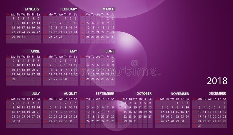 Calendrier 2018 en anglais Débuts de semaine dimanche bulles sur le fond rose illustration stock