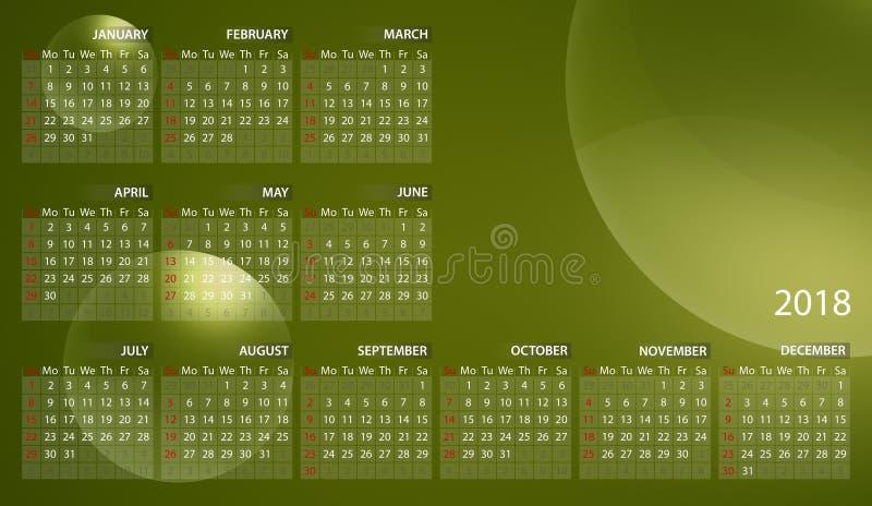 Calendrier 2018 en anglais Débuts de semaine dimanche Bulles sur le fond vert jaunâtre illustration stock