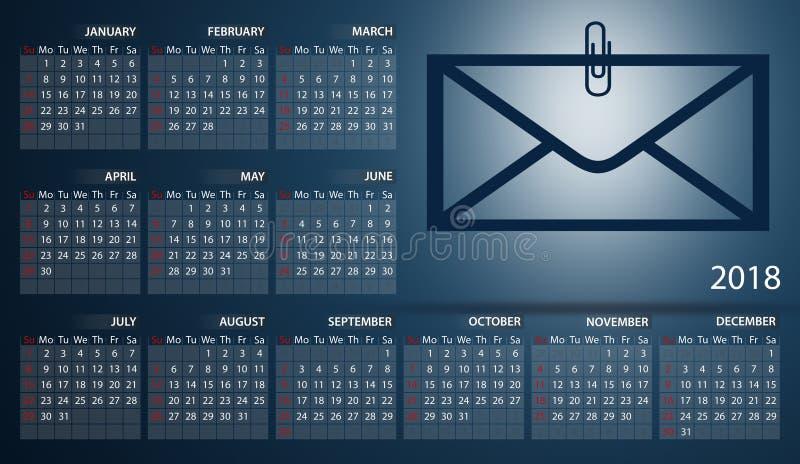 Calendrier 2018 en anglais Débuts de semaine dimanche Enveloppe avec un trombone illustration de vecteur