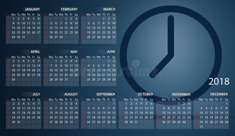 Calendrier 2018 en anglais Débuts de semaine dimanche Horloge timer illustration libre de droits