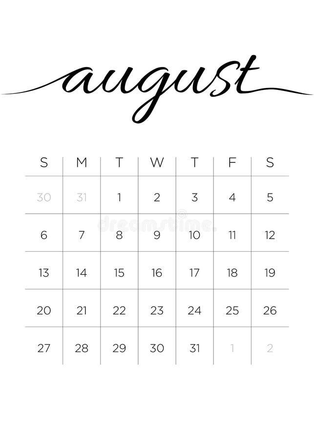 Calendrier en août 2017 mensuel illustration libre de droits