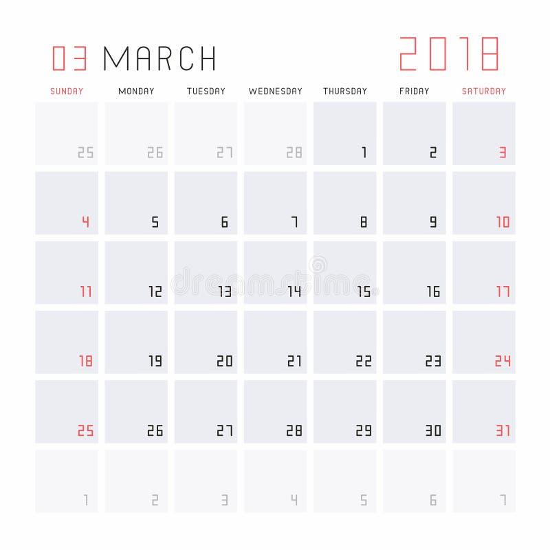 Calendrier en mars 2018 illustration stock