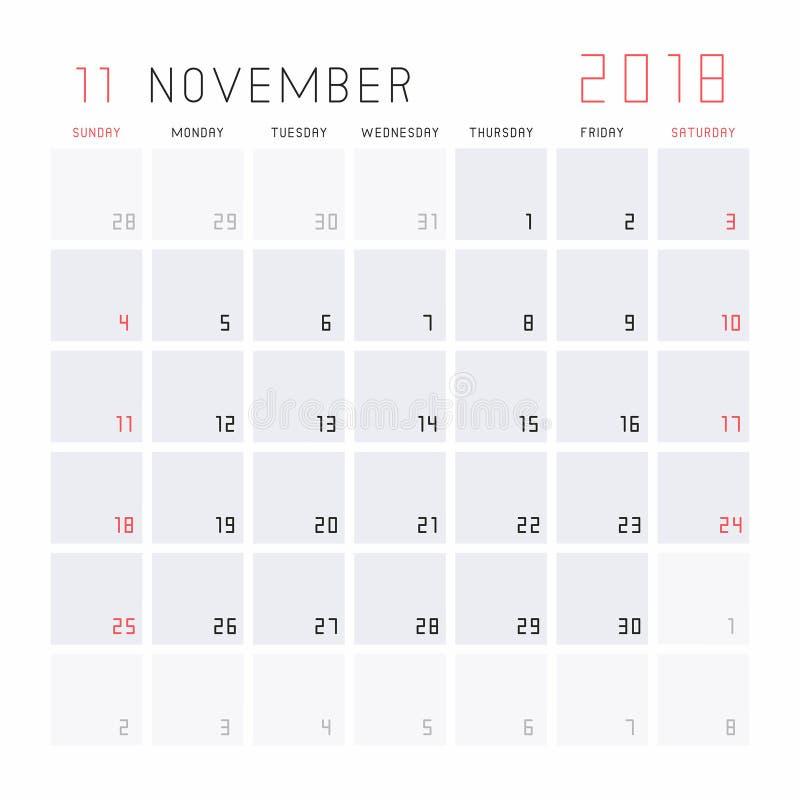 Calendrier en novembre 2018 illustration de vecteur