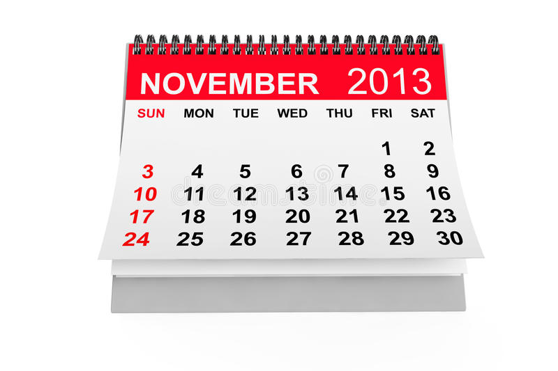 Calendrier en novembre 2013 illustration libre de droits