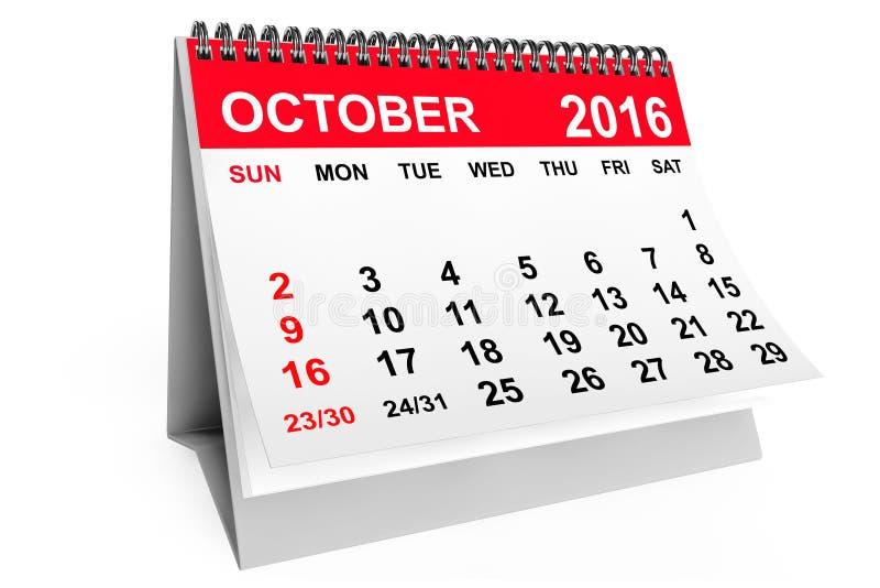 Calendrier en octobre 2016 rendu 3d illustration libre de droits
