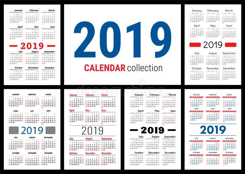 Calendrier 2019 Ensemble coloré Débuts de semaine dimanche Grille de base illustration de vecteur