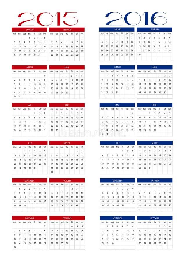 Calendrier 2015 et 2016 photo libre de droits