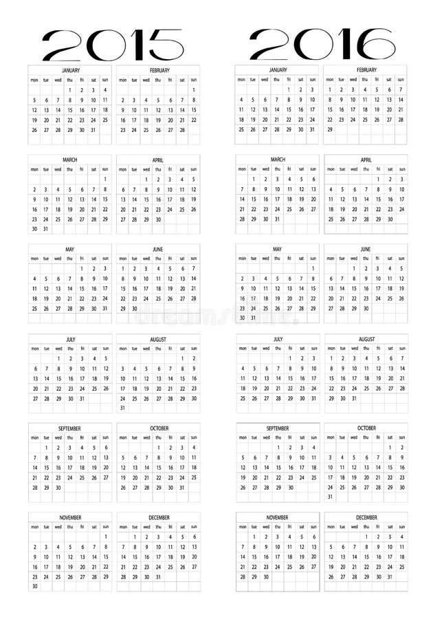 Calendrier 2015 et 2016 photographie stock libre de droits