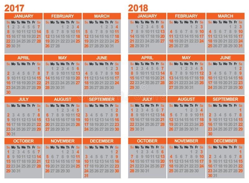 Calendrier 2017 et 2018 illustration libre de droits