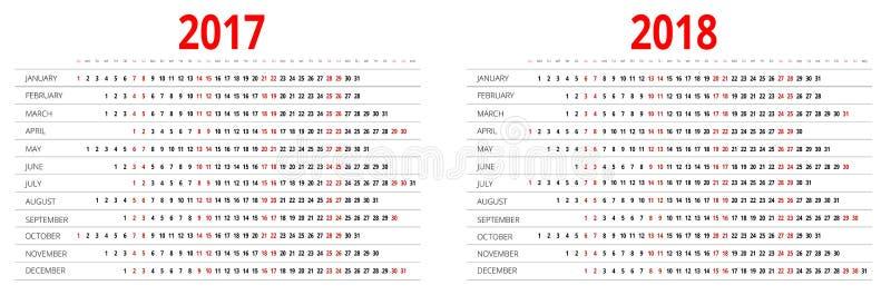 calendrier 2017 et 2018 Calibre d'impression La semaine commence dimanche Orientation de portrait Ensemble de 12 mois Planificate illustration stock