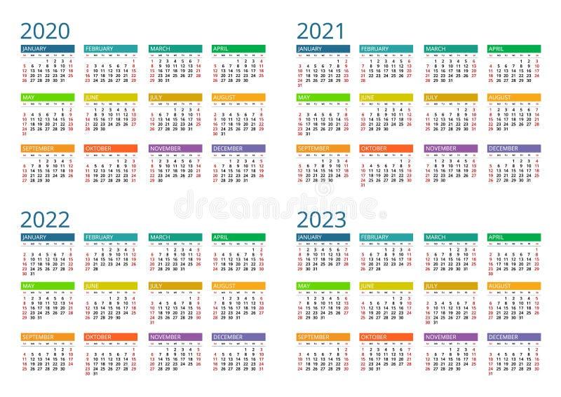 Calendrier 2020, 2021, 2022 Et 2023 Imprimer Le Modèle Semaine