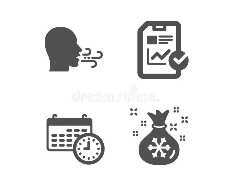 Calendrier, exercice de respiration et icônes de liste de contrôle de rapport Signe de sac à Santa Temps, souffle, dossier de cro illustration de vecteur
