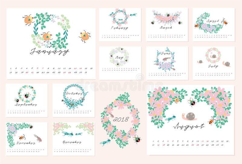 calendrier 2018 floral photo libre de droits
