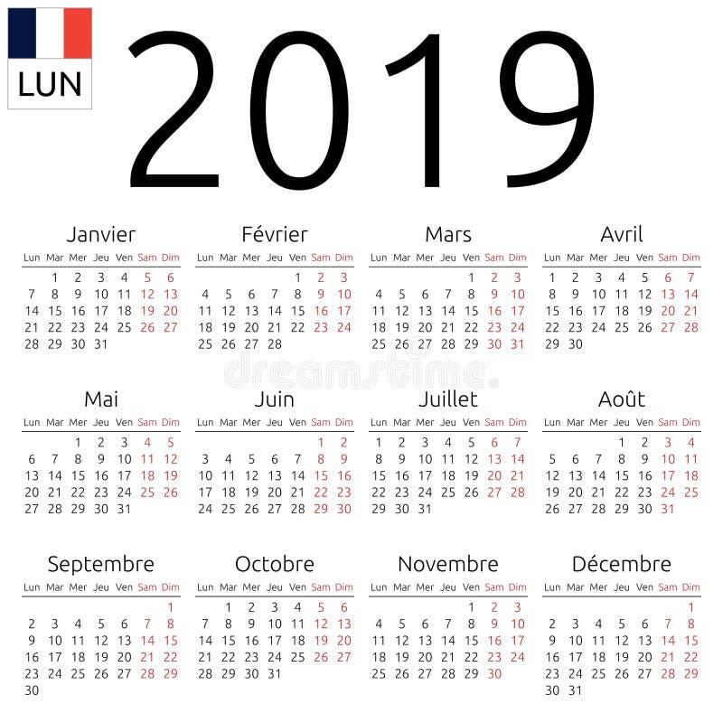 Calendrier 2019, Français, lundi illustration libre de droits