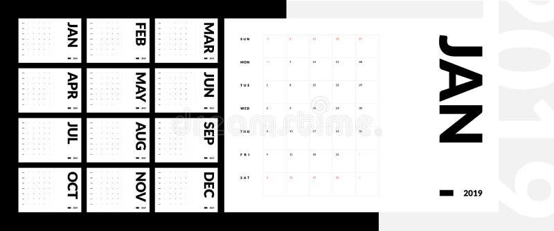 Calendrier géométrique de Minimalistic de copie de la nouvelle année 2019 illustration stock