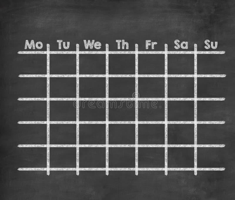 Calendrier hebdomadaire de grille pour la pleine semaine illustration stock