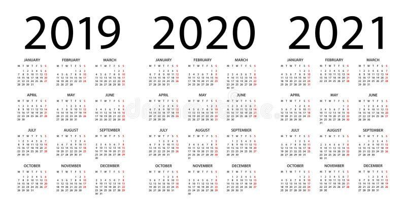 Calendrier 2019 Et 2021 Calendrier 2019 2020 2021   Illustration Débuts De Semaine Lundi