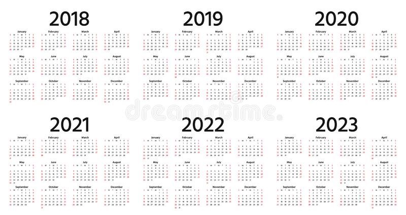 2018, 2019, calendrier 2020 Illustration de vecteur Année pl de calibre illustration de vecteur