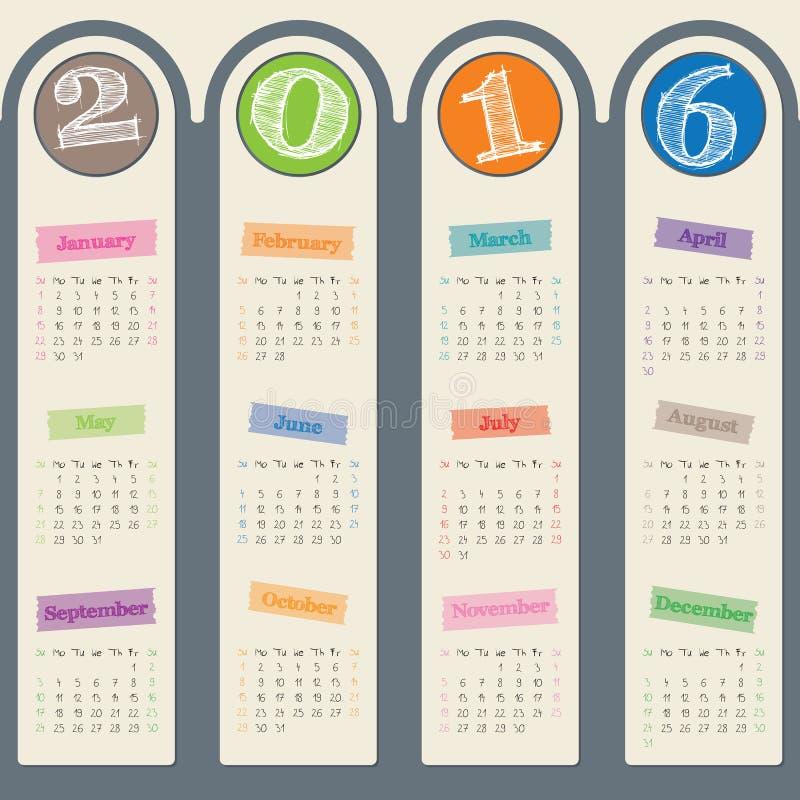 Calendrier 2017 impressionnant avec la conception de cintre de porte illustration libre de droits