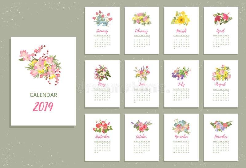 Calendrier 2019 imprimable avec les fleurs assez colorées illustration stock