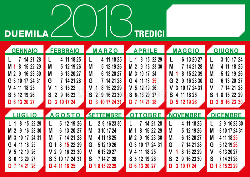 Calendrier italien de l'indicateur 2013 illustration libre de droits